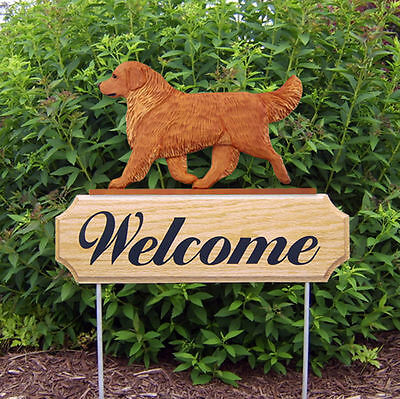 Golden Retriever Dog Breed Oak Wood Welcome Outdoor Yard Sign Dark
