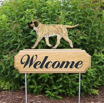 Mastiff Dog Breed Oak Wood Welcome Outdoor Yard Sign Fawn Brindle