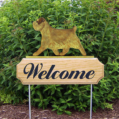 Norfolk Terrier Dog Breed Oak Wood Welcome Outdoor Yard Sign Grizzle