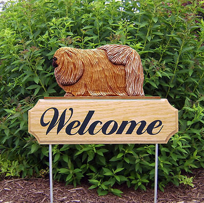 Pekingese Dog Breed Oak Wood Welcome Outdoor Yard Sign Sable