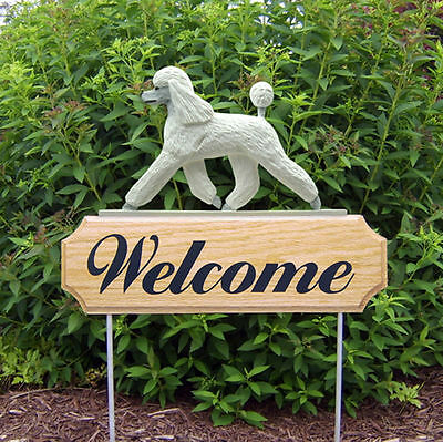Poodle Dog Breed Oak Wood Welcome Outdoor Yard Sign White