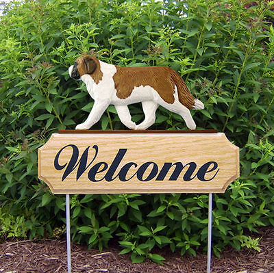 Saint Bernard Dog Breed Oak Wood Welcome Outdoor Yard Sign