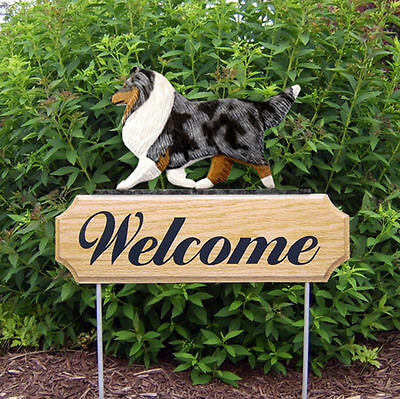 Sheltie Dog Breed Oak Wood Welcome Outdoor Yard Sign Blue Merle