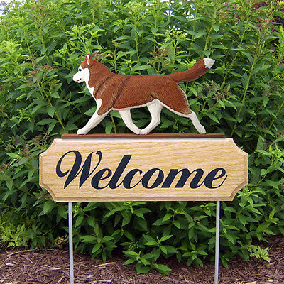 Siberian Husky Dog Breed Oak Wood Welcome Outdoor Yard Sign Red/White