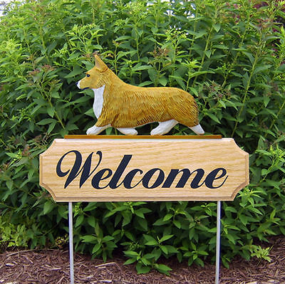 Welsh Corgi Pembroke Dog Breed Oak Wood Welcome Outdoor Yard Sign Blonde