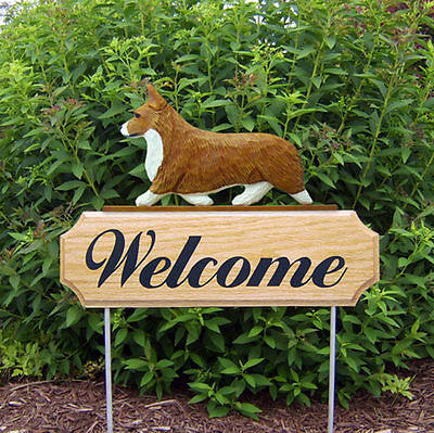 Welsh Corgi Pembroke Dog Breed Oak Wood Welcome Outdoor Yard Sign Red