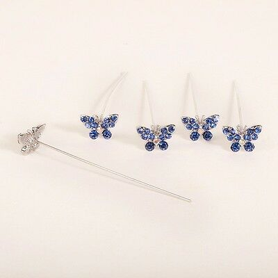 Faux diamond diamante Butterfly pins x 5 Sapphire Blue