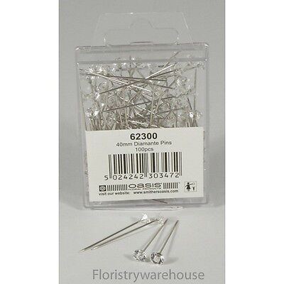 5mm acrylic head diamante diamond pins by Oasis (x100)