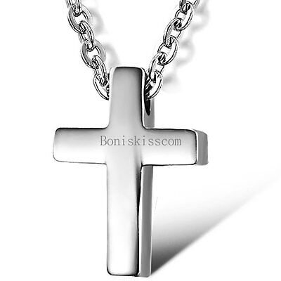 Silver Stainless Steel Simple Plain Cross Pendant Necklace Men's Women's Jewelry