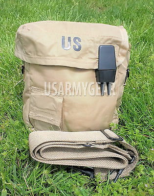 2 QT Collapsible Water Canteen Cover Pouch w / Sling Desert Tan US Army Military
