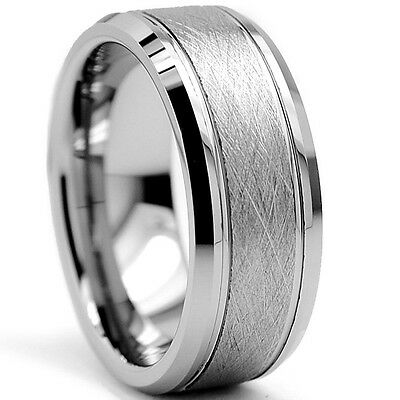Tungsten Carbide Mens 8MM Rutile Brushed Center Silver Wedding Band Ring M51