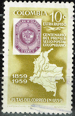 Colombia Country Map stamp 1959