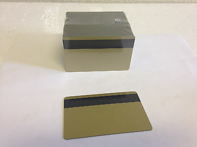 100 Gold PVC Cards - HiCo Mag Stripe 3 Track - CR80 .30 Mil for ID Printers