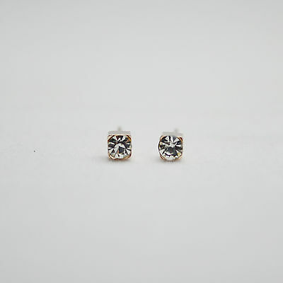 14K/14ct Rose Gold Plated Small Cube with Crystal Stud Earrings Butterfly Back