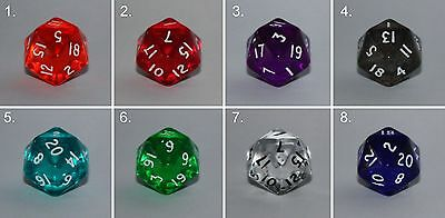 Würfel-Dice-Gem W20-Tranparent-Rollenspiel-Lifecounter-Tabletop-RPG-d20-New-Neu