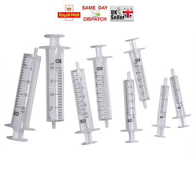 MULTIAUCTION: 2ml 5ml 10ml BD Sterile Syringes FAST FREE UK PP Refill Ink