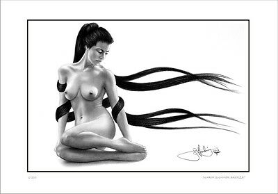 Nude  Female  Study   Drawing      Summer Breeze            Limited Edition