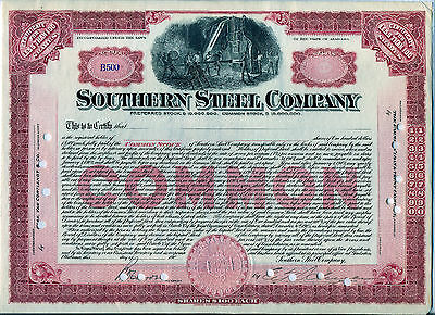 Southern Steel Company Stock Certificate Gadsen Alabama