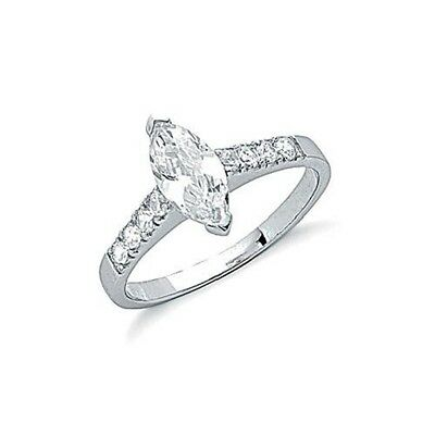 Rhodium Plated 925 Hallmarked Silver Marquise Cut Engagement Or Dress Ring