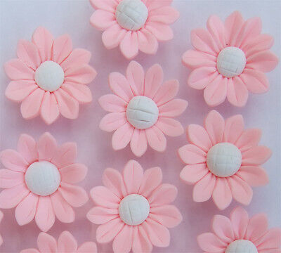 8 x Baby Pink and White Flower Shaped Polymer Clay Beads  - 30mmx10mm