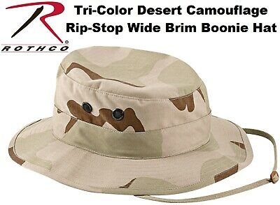 Tri-Color Desert Camouflage Military Tactical Wide Brim Bucket Boonie Hat 5824
