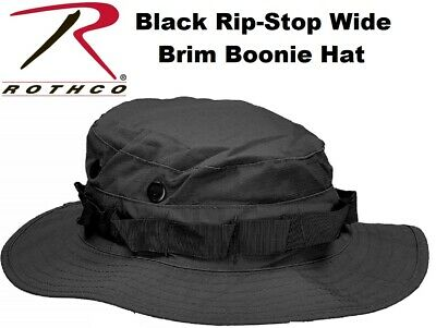 Black Military Police Tactical Wide Brim Pol/Cot Rip-Stop Bucket Boonie Hat 5819
