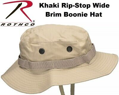 b61ae84412a Khaki Military Tactical Poly Cotton Rip-Stop Wide Brim Bucket Boonie Hat  5815
