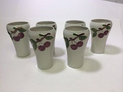 Set of 6 Orchard Ware Cherry Side Larger Tumblers Hand Decorated EUC