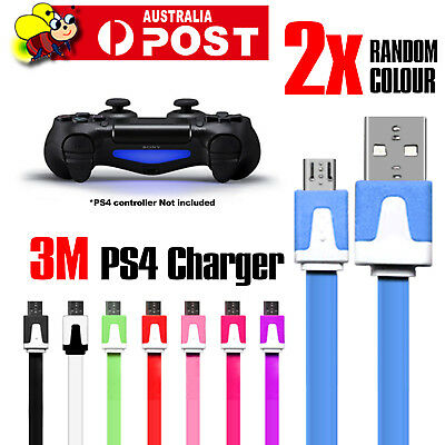 2 x 3M Meters PS4 Controller Joypad Charging Charger Cable For Play Station 4