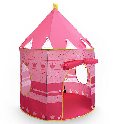 Kids Girl Play Tent Portable Folding Princess Castle Fairy Cubby Child House