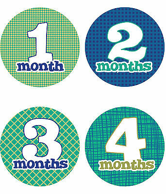 "Baby Boy Monthly Stickers NEW 12 months + Just Born Blue/Green 4"" circle Dots"