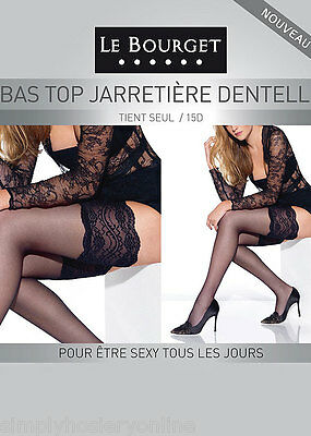 Le Bourget Bas Top Jarretiere Dentelle Lace Top Hold Ups 15 Denier Sheer 6 Color