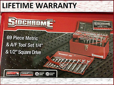 SIDCHROME 69PCE SOCKET & SPANNER SET TOOL KIT with tool box