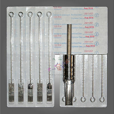 50x25 Tattoo RM/CM Needles 25 Mag Flat Tip with Steel 19mm Grip and Tube