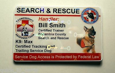 Holographic Search And Rescue Service Dog Id Badge Custom Card Working Dog 25
