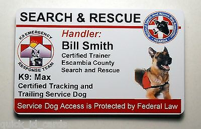 Search And Rescue Service Dog Id Badge Custom Card Working Dog 25