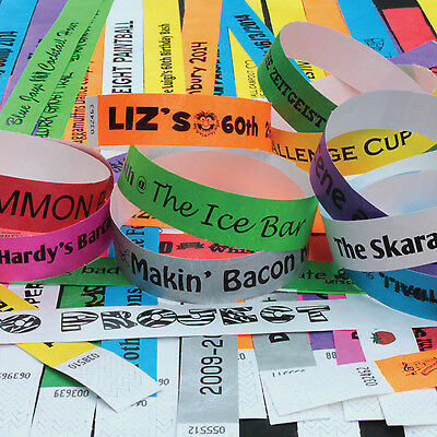 PRINTED PARTY Tyvek Wristbands. Ideal for Parties, Festivals & Events