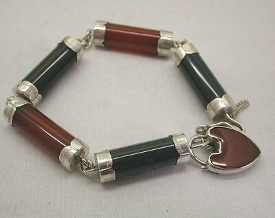 Vintage Heavy Scottish Silver And Agate Bracelet With Heart Padlock
