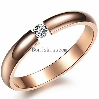 2.9mm Polished Rose Gold Tone Stainless Steel Ladies Womens CZ Engagement Ring