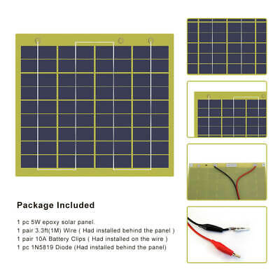 ECO 5W Epoxy Resin Solar Panel  5 Watt 12Volt Solar Battery Charger with Diode