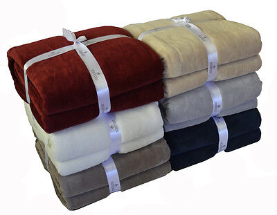 Extra Large New Luxury 350GSM Micro Plush Microfibre Blanket  - Colors Choice