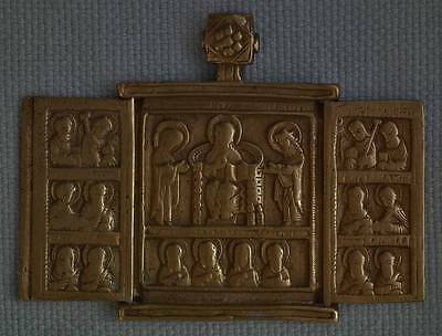 Sign In Antique 17th century Russian Eastern Orthodox Bronze Triptych Icon