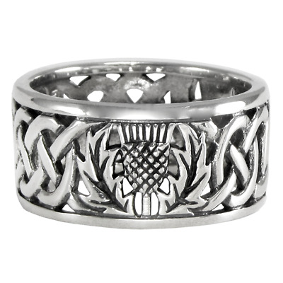 Sterling Silver Wide Scottish Thistle Wedding Band with Celtic Knot Ring sz 4-15
