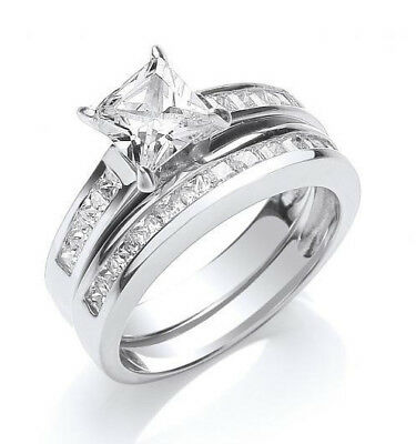 Rhodium Plated Solid 925 Hallmarked Silver Princess Cut Bridal Ring Set