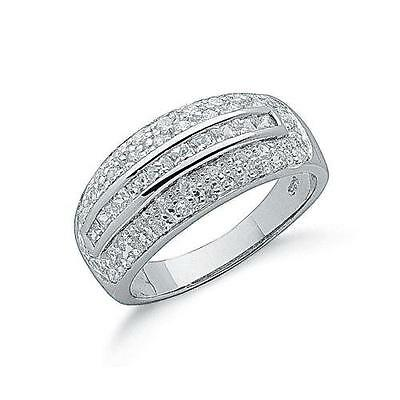 Rhodium Plated 925 Hallmarked Sterling Silver Princess Cut And Pave Set Ring