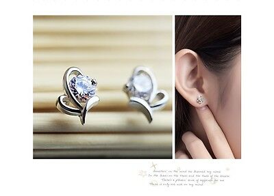 18k White Gold Plated Tulip Flower with 4MM 0.25ct Cubic Zirconia Stud Earrings