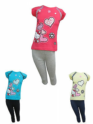 Hello Kitty Girls PJ's/Pyjamas/Nightwear Short Sleeved Ages 18 Months - 8 Years