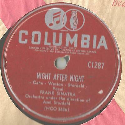 78 Rpm Record Frank Sinatra Night After Night / The Right Girl For Me