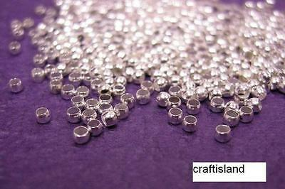 100pc SP Silver Crimp Ball Stopper Metal Bead 2mm-590