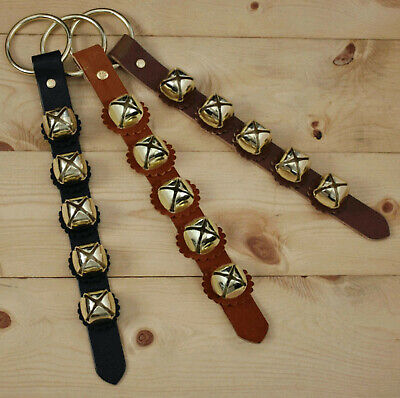 Arctic Sleigh Bell Leather Strap Hanger Door Chimes / Dog Potty Training_GD